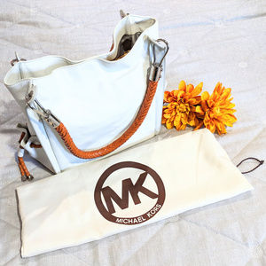 Michael Kors White Leather Bamboo Handbag